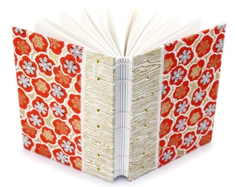 Plum Blossom Journal in Gold and Red - handmade by Ruth Bleakley