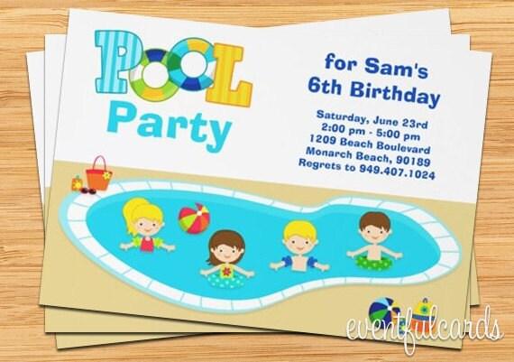 Ni os piscina fiesta cumplea os invitaci n 5 x 7 - Cumpleanos en piscina ...