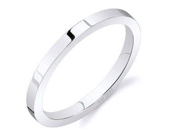 14k White Gold Band (2mm THIN) / PLAIN / Polished Flat + Comfort Fit / Men's Women's Wedding Ring Thin
