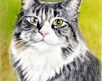 Tabby with White Cat, Tabby Cat Print, Tabby Cat Art,  Tabby Cat Portrait, Cat Art Print, Cat Art, Cat Watercolor by P. Tarlow