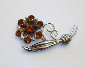 Big sterling silver flower brooch pin.