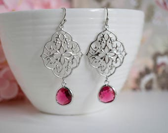 Ruby Earrings Silver Moroccan Filigree Chandelier Earrings. Marsala Style Red Hues Bridal Wedding Ear Jewelry. Bridesmaid Gift