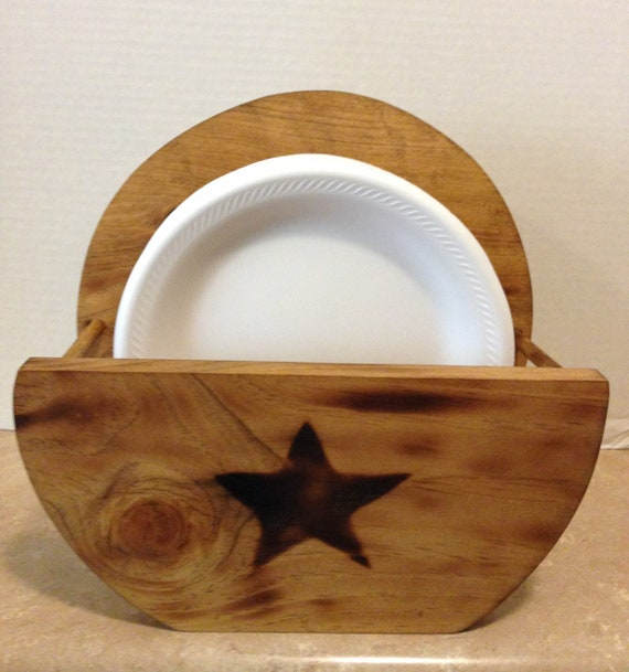 Paper Plate Holder, Wooden Plate Holder, Holder for plates, Primitive Decor, Rustic Decor, Rustic Kitchen, Primitive Kitchen, Primitive star