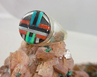 Native America Turquoise Onyx Coral Sterling Ring