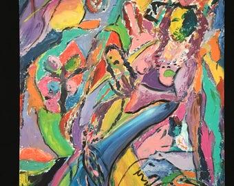C. Wahrman Abstract Outsider Oil Painting Japan Fair