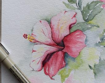 Pink Magenta Hibiscus Watercolor Handpainted Card- Prints