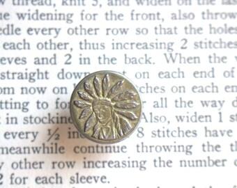 Indian Chief Button c. 1920 Work Wear Stud
