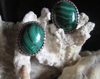 Malachite and sterling post earings, bezel cut, oval stud earings