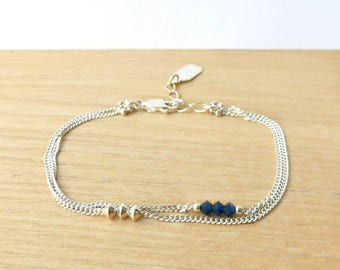 "Silver 925 ""Twin"" double chain and indigo blue Crystal bracelet"