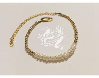 Dhala Bracelet — freshwater pearls (2mm) segment ornate golden chain adjustable minimalist christmas mermaid boho nashville bride june ocean