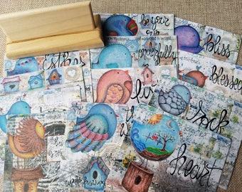 The Hopeful Bird Journal Card Set,wooden card holder,cards,birds,birdhouse,Lent,Easter,Jesus,faith,spring,handmade,hand drawn, hope