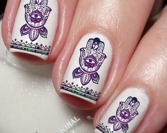 Fatima Hamsa Hand Symbol Nail Art Sticker Water Transfer Decal 80