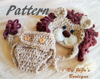 PDF Baby Lion Hat PATTERN with Diaper Cover and Tail - Baby Lion Hat and Cover Pattern - Lion Costume Crochet Pattern - by JoJosBootique