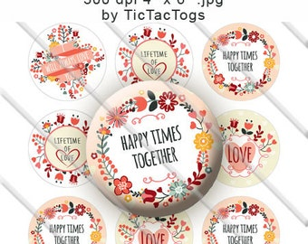Floral Wedding Sayings Bottle Cap Colorful Digital Art Collage Set 1 Inch Circle 4x6 - Instant Download - BC490