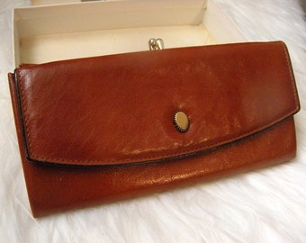 Streamline Vintage Brown Calfskin Leather Princess Gardner Wallet ~ Original Box