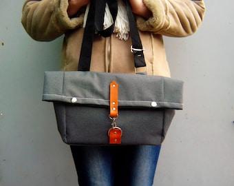 Waxed canvas small messenger bag, Waxed canvas satchel bag, leather strap closure, crossbody bag, foldover bag, grey messenger bag
