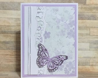 Handmade card,  greeting card, all occasion card, blank card, butterfly, purple, floral design