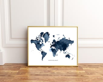 Blue world map etsy gumiabroncs Image collections