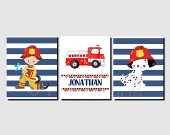 Fireman Wall Art, Fire Engine, Fire Truck Wall Art, Personalized, Dalmation, Toddler Boy Room Decor, Navy White, Set of 3, Prints or Canvas
