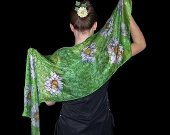 Green hand painted silk scarf,  floral silk scarves, christmas gift for woman, white daisies unique silk scarf, greenery silk scarf