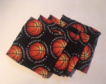 Basketball flannel coasters, set of 4