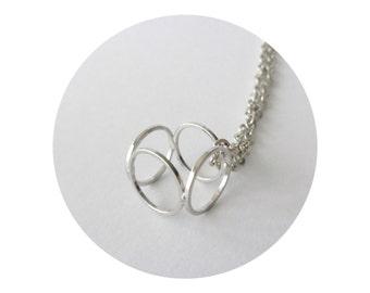 Silver cube minimal geometric necklace pendant