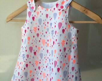 Baby a line dress pattern white drops