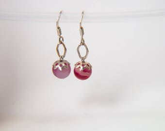 Earrings 925 sterling silver and magenta agate beads