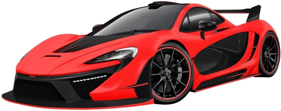 McLaren P1 Red Sports Car Wall Decal Sticker Removable Fabric Vinyl Classic  Race Car Boys Bedroom Game Room Decor