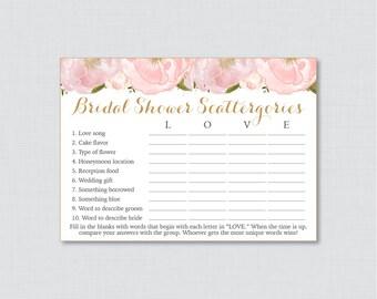 Pink Floral Bridal Shower Scattergories Game - Printable Blush Pink and Gold Flower Scattergories Game - Pink Garden Bridal Shower Game 0007