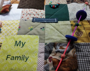 Fidget Quilt for Alzheimer patients,  Present for Dad,  Gift for Grandpa, Rehab tool for stroke patients, Wheelchair Patient, Fidget Blanket