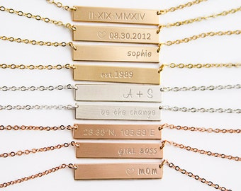Name Necklaces, Custom Bar Necklace, Custom Name Plate Necklace, Sterling Silver, Gold Filled, Rose Gold Filled, Gold Bar Necklace ZN00061