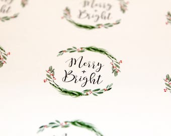 Merry & Bright Stickers | Packaging Labels | Holiday Stickers | Christmas Stickers