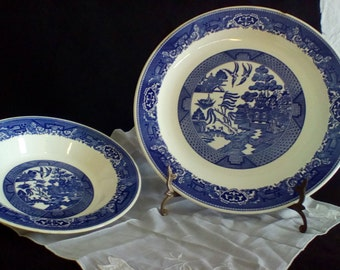 Blue willow plate and bowl