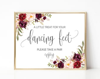 Dancing Shoes Sign, Wedding Printable, Wedding Sign, Dancing Feet Sign, Marsala signs, Wedding Dancing Shoes Sign, Instant download