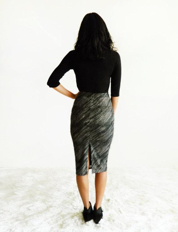Charcoal & Gold Diagonal Stripe Eyelash Bouclé High Waist Pencil Skirt