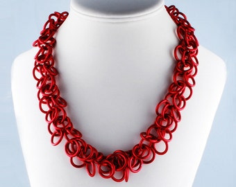 Large Fringe Necklace (red) - Ruffled Necklace - Chunky Dramatic Necklace - Jingly Necklace - Chainmaille - Chain Link - Shaggy Loops