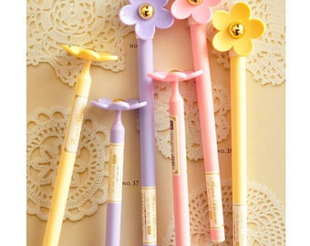 SUNFLOWER Bloom Ballpoint Pen: Pink / Lavender / Yellow Cute Fancy Writing BLUE Ink Kawaii Life Planner Pen  stationery Supplies Accessories