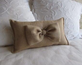 burlap toss lumbar pillow with bow