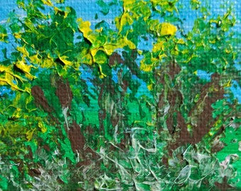Trees in the Sun (Miniature Acrylic Painting with Easel)