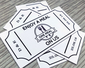 50 Personalised Meal Tickets - White Coupons Wedding Tokens Party Cards Vintage Custom Chic Sweet 16 Parlour Food Voucher Truck Bar