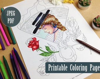 Flamenco Girl Printable Coloring Page PDF, Spanish Illustration Line Art to Color, Digital Download Coloring Pages by Windy Iris