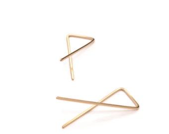 vertex earrings-  14k gold-filled, thin gold earrings, minimal gold earrings, modern hoop earrings