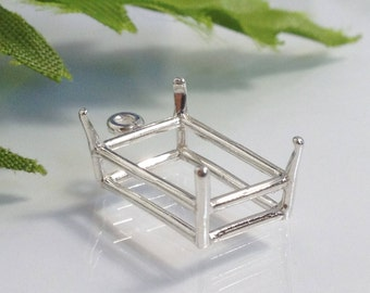 Sterling Silver Octagon Dange Pendant (7X5mm- 25X18mm). 166-027