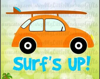 Vintage Surf Buggy Surf's Up! Design Digital Clipart Instant Download Full Color 300 dpi jpeg, png, svg, eps, dxf Format