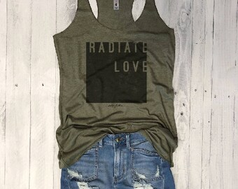 Sale RADIATE LOVE... Army Tank with Pink, Yoga Shirt, Gym Shirt, Gym Tank, Yoga Top, hot yoga, Gym Top, Graphic Tee, Yoga Vest