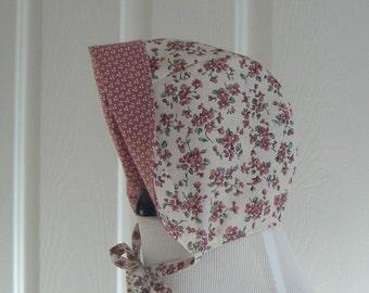 0/3 Month Sunbonnet, Newborn Bonnet, Shower Gift, Baby Girl Sun Hat, Easter Bonnet, Reversible Sunbonnet