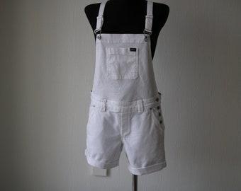 Vintage White Denim Shorts Overalls Jumpsuit Medium Size