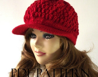 KNITTING HAT PATTERN Newsboy Hat - Claire newsboy hat pattern - Knitted Brim woman girl Hat Pattern with Pictures Instant Download