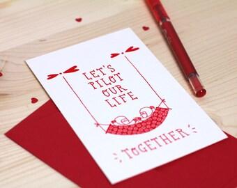 Carte de Saint-Valentin, illustration de pilotes amoureux, carte d'amour